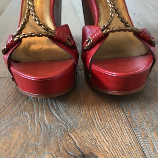 Vince Camuto Red, Gold Wedges Image 1