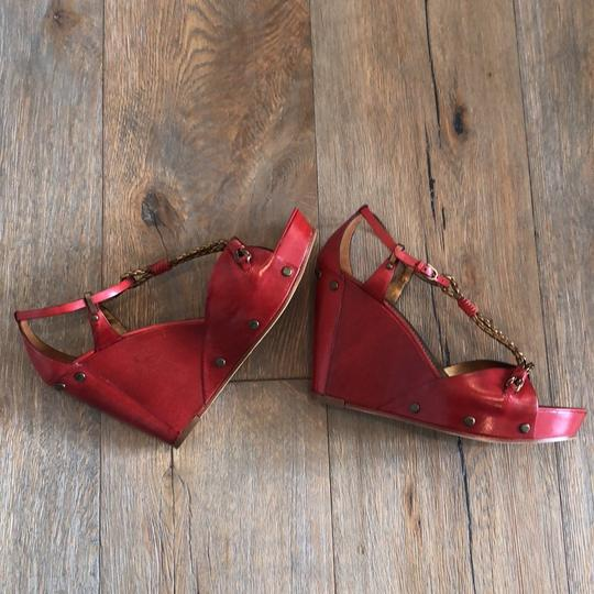 Vince Camuto Red, Gold Wedges Image 5