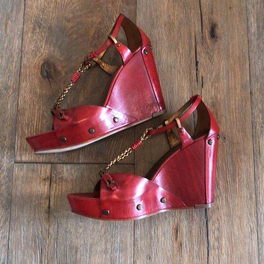 Vince Camuto Red, Gold Wedges Image 6