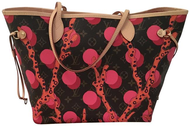Item - Neverfull Ramages Brown/Coral/Pink/Purple Canvas Tote