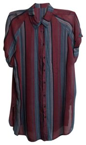 BDG Lightweight Urban Outfitters Button Down Shirt wine stripe