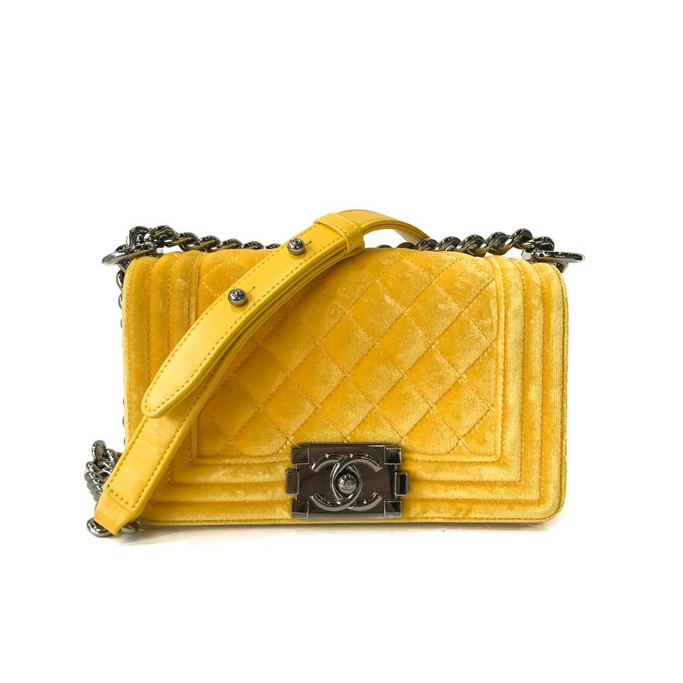 cf4fada58245 Chanel Classic Flap Boy Le Small Yellow Velvet Shoulder Bag - Tradesy