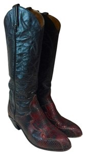 Tony Lama Leather Red Black Boots