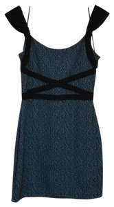 Free People Cut-out Capped Sleeves Lace Trim Stretchy Jacquard Dress
