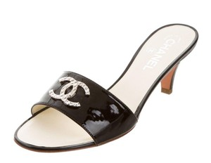 Chanel Slides Mules Logo Cc Black NEW!! Sandals