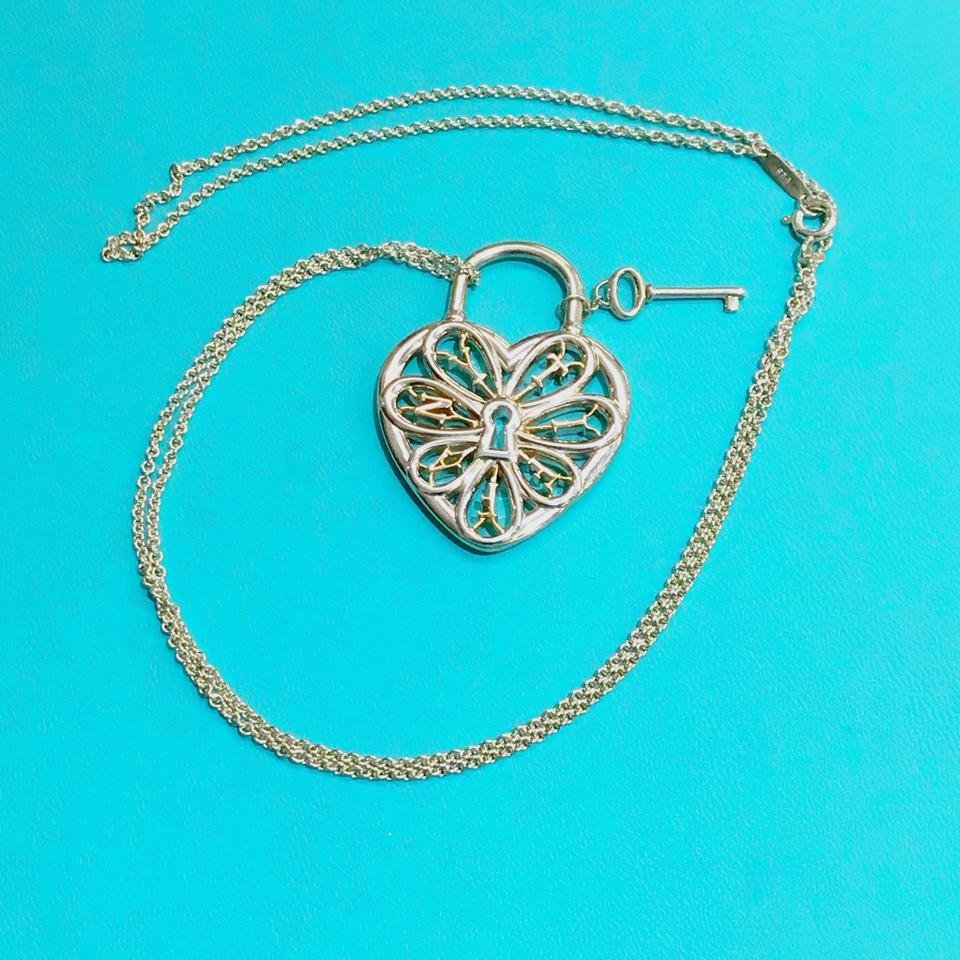 2be7d359e1f0e Tiffany   Co. Silver and Rose Gold Large Filigree Heart Key Necklace ...