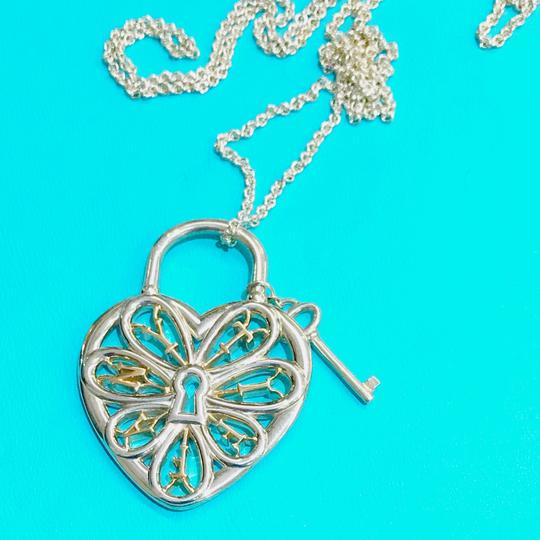 Tiffany & Co. Tiffany & Co. Silver and Rose Gold Large Filigree Heart Key Necklace Image 4