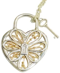 Tiffany & Co. Tiffany & Co. Silver and Rose Gold Large Filigree Heart Key Necklace