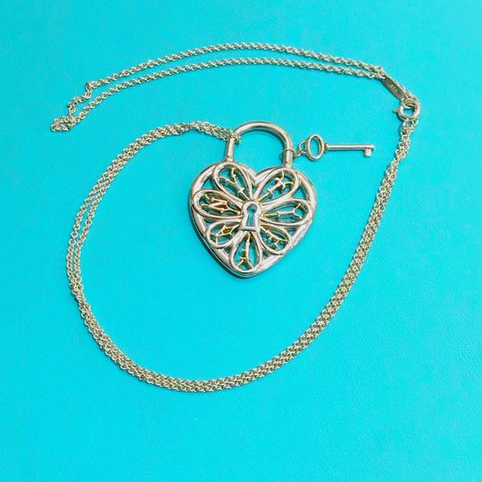 Tiffany & Co. Tiffany & Co. Silver and Rose Gold Large Filigree Heart Key Necklace Image 3