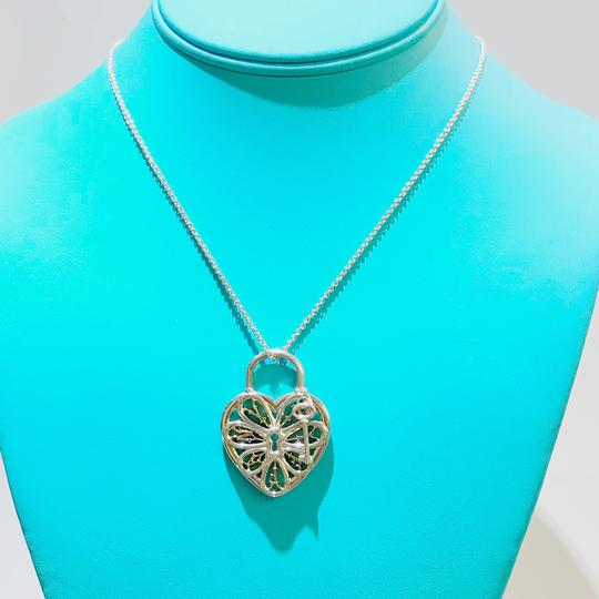 Tiffany & Co. Tiffany & Co. Silver and Rose Gold Large Filigree Heart Key Necklace Image 5