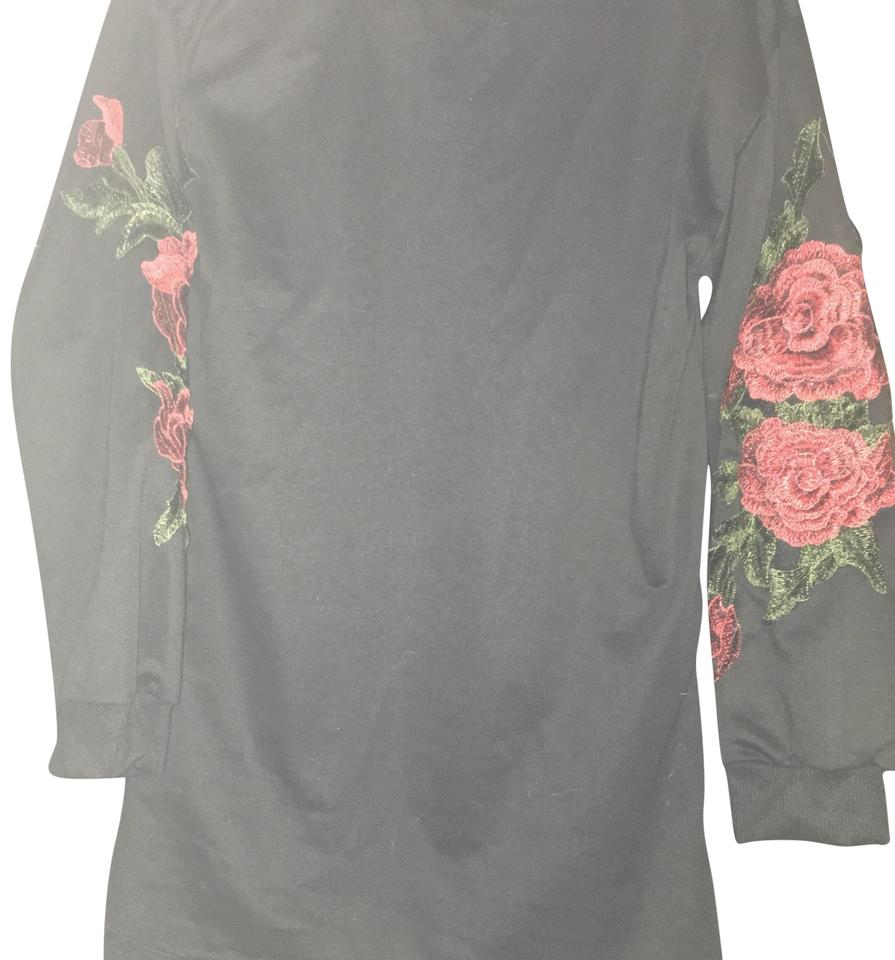 Zara Black Red Rose Sleeve Pullover Sweater Blouse Size 8 M Tradesy