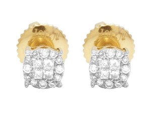 Jewelry Unlimited 14K Yellow Gold Genuine Diamond Princess Quad Round Stud Earring 14 Ct