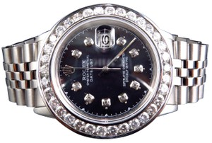 Rolex Datejust Oyster Stainless Steel Channel Set Diamond Watch with 5.5 Ct