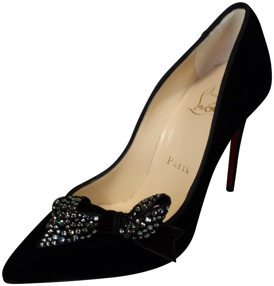 new product 03e6e 9751e Christian Louboutin Black Madame Menule 100 Velvet Crystal Bow Heels  Evening New Pumps Size EU 35.5 (Approx. US 5.5) Regular (M, B) 27% off  retail