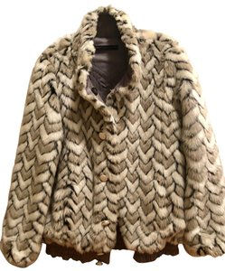 Marc by Marc Jacobs Faux Fur Reversible Bomber White & Gray Jacket