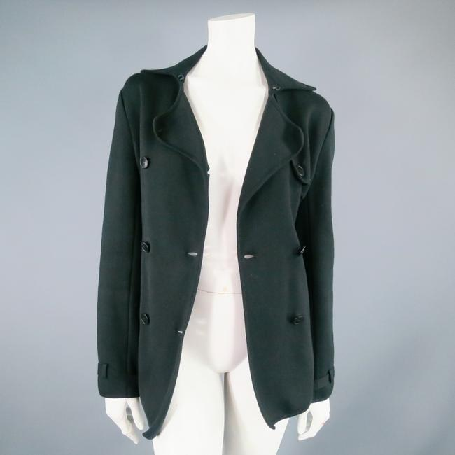 Loro Piana Casual Belted Double Breasted Black Jacket