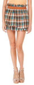 SUNO Layered Plaid Pockets Mini Skirt orange teal