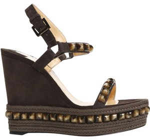 Christian Louboutin Cataclou Studded Platform Ankle Strap grey Wedges