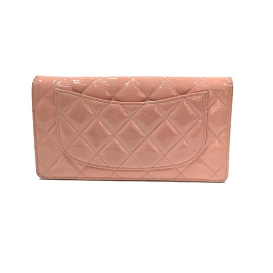 Chanel Chanel CC Logo Quilted Peach Patent Wallet