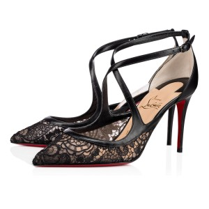 Christian Louboutin Pigalle Twistissima Stiletto Crisscross Strap Ankle Strap black Pumps