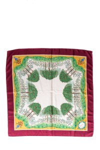 Gucci Maroon Placed Floral Print Rolled Edge Silk Scarf