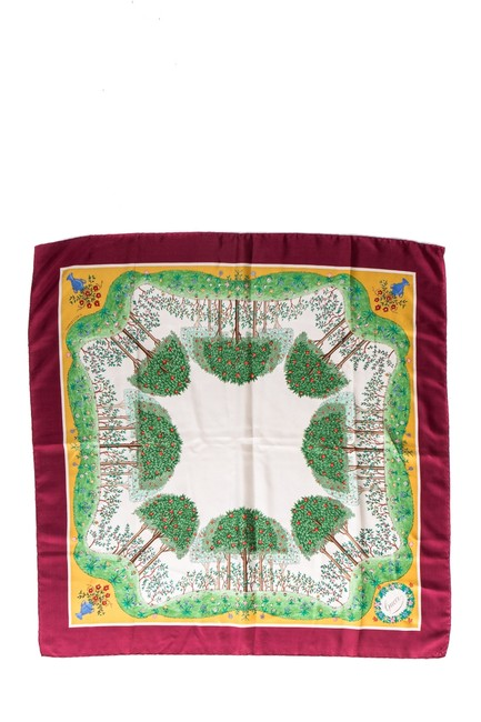Gucci Multicolored Maroon Placed Floral Print Rolled Edge Silk Scarf/Wrap Gucci Multicolored Maroon Placed Floral Print Rolled Edge Silk Scarf/Wrap Image 1