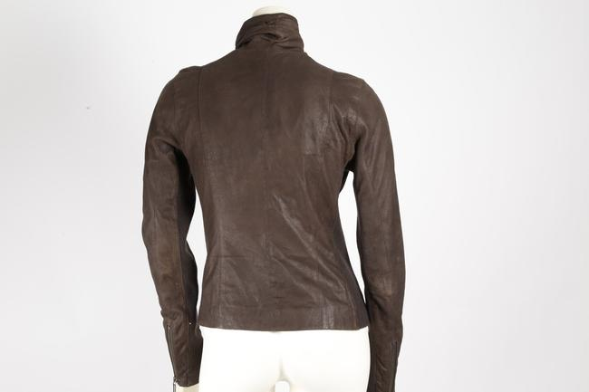 Vince Casual Short Brown Leather Jacket