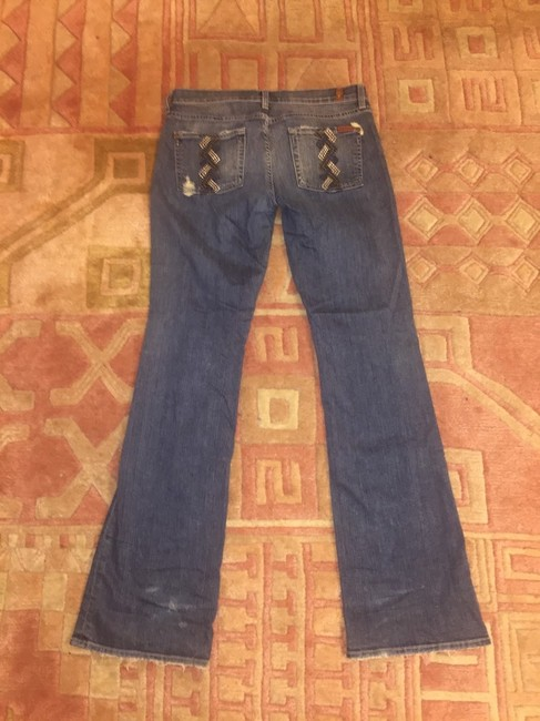 7 For All Mankind Studded Bling Rhinestone Acid Wash 3x1 Straight Leg Jeans-Acid