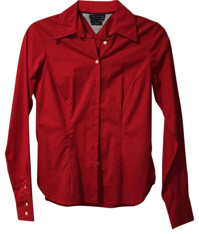 cc3c124e Tommy Hilfiger Red Cotton Shirt Button-down Top Size 2 (XS) - Tradesy