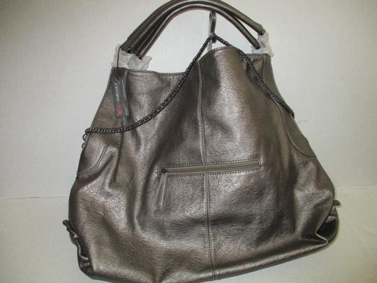 JustFab Studded Chain Satchel Lined Tote in Pewter