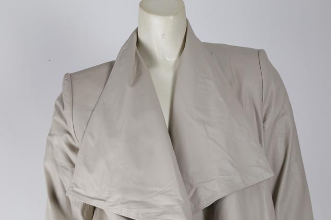 Alice + Olivia Open Front 3/4 Sleeves Casual Cream Leather Jacket
