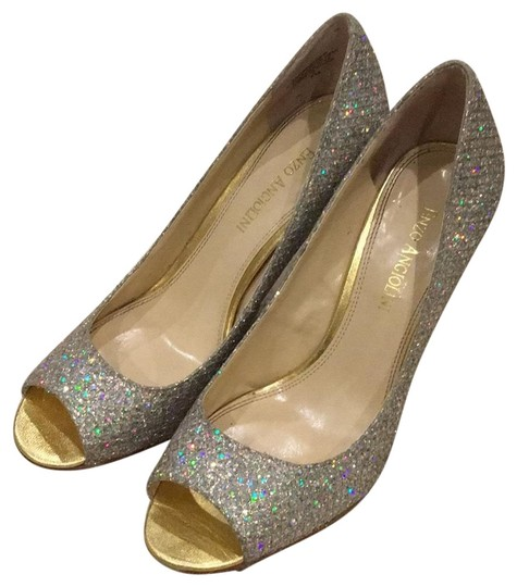 Enzo Angiolini Gold and Sparkles Pumps