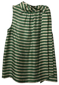 Anthropologie Top Green and white stripes
