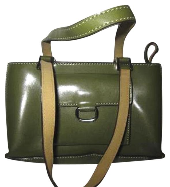 Mondani Accent Stitching Purse Olive Green Faux Leather Satchel Mondani Accent Stitching Purse Olive Green Faux Leather Satchel Image 1