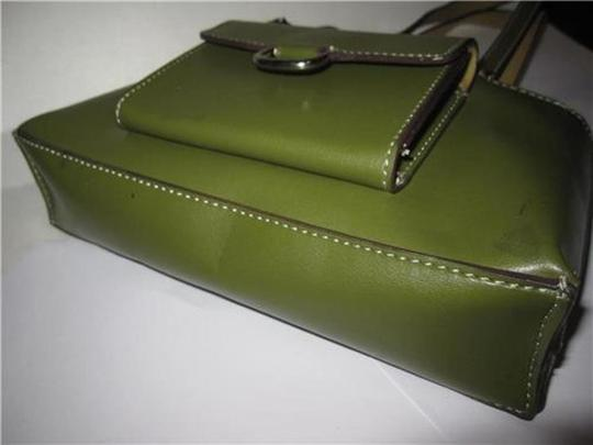 Mondani Accent Stitching Brown Silver Hardware Satchel in Olive Green