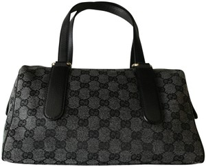 Gucci Ssima Boston Satchel in Grey / Black