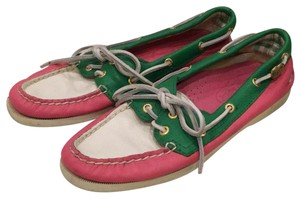 Sperry white, Pink, green Flats
