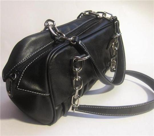 Anne Klein Leather Red Lining Link Chain Silver Hardware Accent Stitching Shoulder Bag