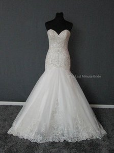 Allure Bridals Ivory/Silver Lace 9325 Feminine Wedding Dress Size 8 (M)