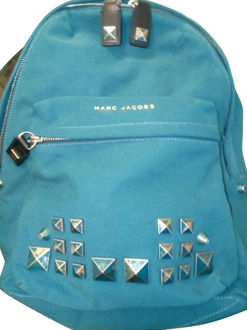 Marc Jacobs Chipped Stud Teal Canvas Backpack Image 1