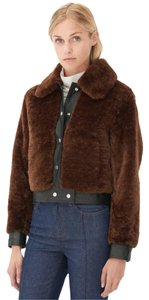 Sandro Paris Vicious Paris Bear Leather Fur Coat