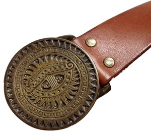Lucky Brand Lucky Brand Brown Leather & Brass Buckle Belt