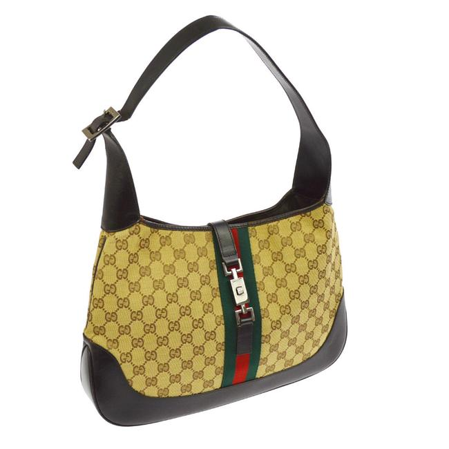 Gucci Jackie Hobo Guccissima Print Canvas/Leather Hobo/Shoulder Browns W Green/Red Stripe Leather/Canvas Shoulder Bag Gucci Jackie Hobo Guccissima Print Canvas/Leather Hobo/Shoulder Browns W Green/Red Stripe Leather/Canvas Shoulder Bag Image 1