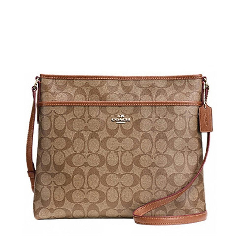 Coach Swingpack F58297 Signature File Saddle Pvc Cross