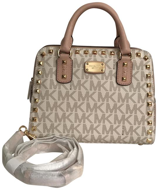 Michael Kors New Sandrine Stud Mk Saffiano White Multi Leather Satchel Michael Kors New Sandrine Stud Mk Saffiano White Multi Leather Satchel Image 1