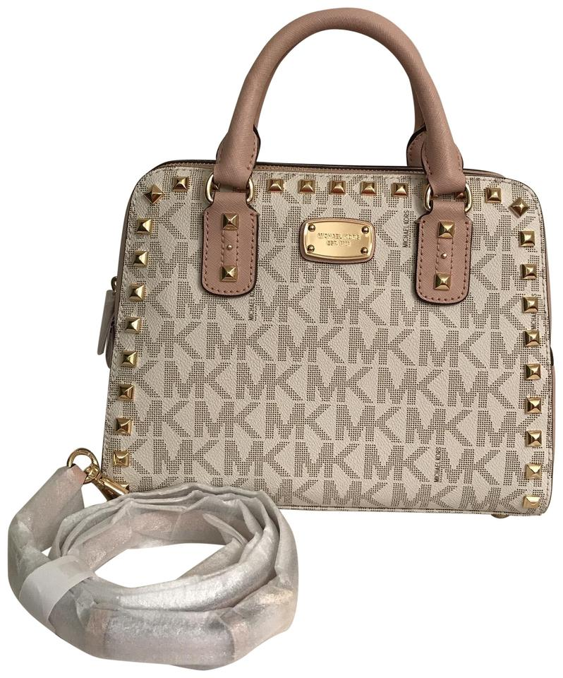 75bfa7049fd7 ... official michael kors purse handbag cross body shoulder studded satchel  in white multi 6956a ce6c5