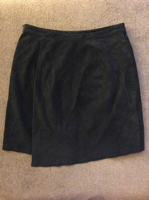 3.1 Phillip Lim Suede Leather A-line Stretchy Skirt Black