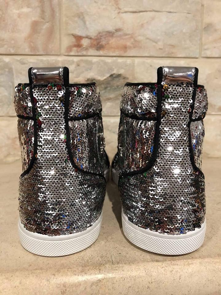 Christian Sneaker Flat Orlato Bip Louboutin Sequin High Top Sneakers Silver Bip pOqnHpwrP