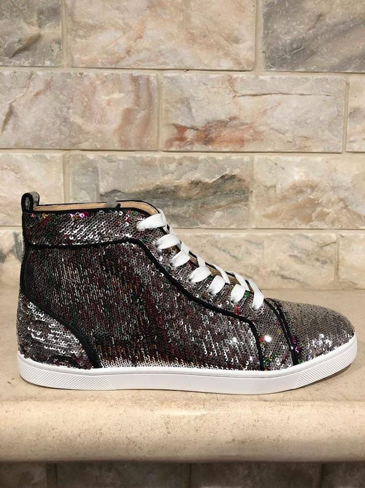 High Louboutin Sneakers Bip Bip Silver Flat Orlato Christian Sequin Sneaker Top Uq6nZ0x6