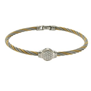 Charriol Philippe 18k Gold Tow Tone Steel Diamonds Cable Bracelet